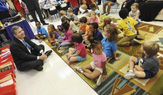 Governor Roy Cooper started off his school supply drive at Pearsontown Elementary School in Durham, N. C., Tuesday, Aug. 8, 2017, he was asking people to help teachers and students by donating supplies that will be distributed to schools across the state, they are especially in need of spiral notebooks, pencils, pens, paper. All the supplies will be accepted at all the State Employee Credit Union branch, and state and government offices from August 14 until September 8th. (Bernard Thomas  /The Herald-Sun via AP)