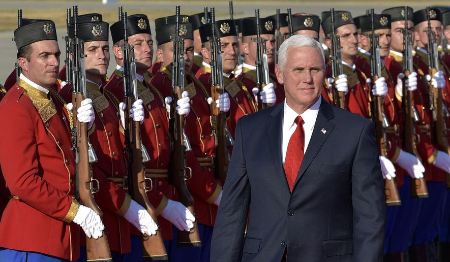 In this Aug. 1, 2017, photo, U.S. Vice President Mike Pence attends a welcome ceremony at Golubovci airport, near Podgorica, Montenegro. Pence has been a loyal messenger for President Donald Trump. At the same time, he has been carving out his own political identity as the steady understudy to a mercurial president. (AP Photo/Risto Bozovic, File)