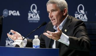 PGA Tour Commissioner Jay Monahan speaks during a news conference at the PGA Championship golf tournament at the Quail Hollow Club Tuesday, Aug. 8, 2017, in Charlotte, N.C. (AP Photo/Chris Carlson)