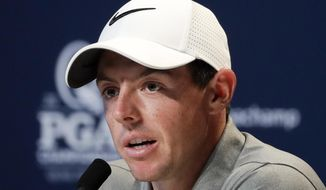 Rory McIlroy, of Northern Ireland, speaks during a news conference at the PGA Championship golf tournament at the Quail Hollow Club Tuesday, Aug. 8, 2017, in Charlotte, N.C. (AP Photo/Chris Carlson)