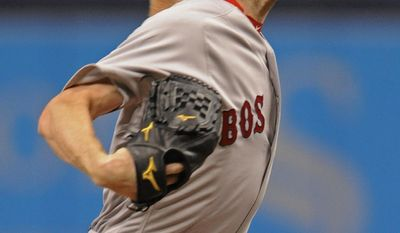 Boston Red Sox starter Chris Sale pitches against the Tampa Bay Rays during the first inning of a baseball game Tuesday, Aug. 8, 2017, in St. Petersburg, Fla. (AP Photo/Steve Nesius)