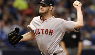 Boston Red Sox starter Chris Sale pitches against the Tampa Bay Rays during the sixth inning of a baseball game Tuesday, Aug. 8, 2017, in St. Petersburg, Fla. (AP Photo/Steve Nesius)