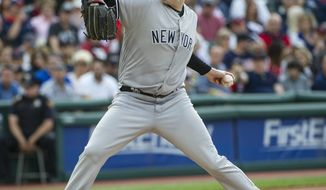 New York Yankees starting pitcher Jordan Montgomery delivers to Cleveland Indians' Francisco Lindor during the first inning of a baseball game in Cleveland, Saturday, Aug. 5, 2017. (AP Photo/Phil Long)