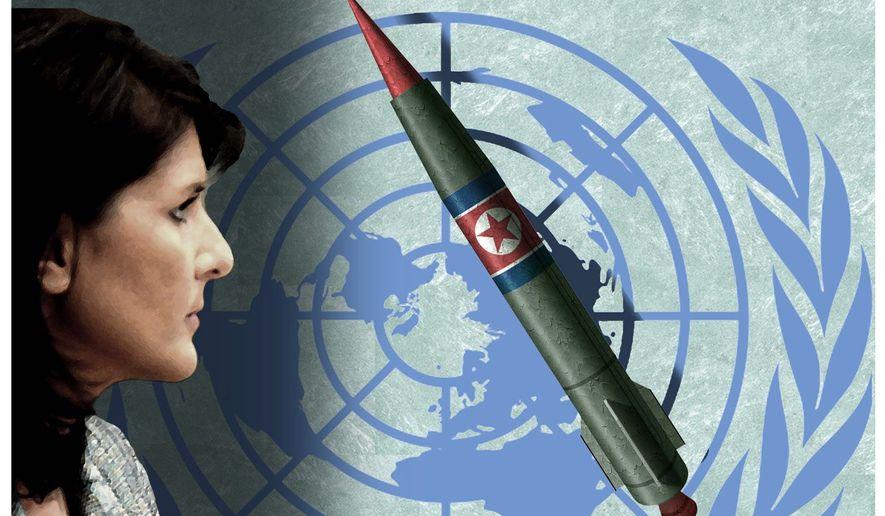 Illustration on U.N. Ambassador Nikki Haley and the North Korean situation by Alexander Hunter/The Washington Times