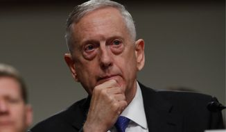 "Then-Secretary of Defense James Mattis urged North Korea to ""stand down its pursuit of nuclear weapons,"" warning that continued efforts by Pyongyang would force a U.S. response ""that would lead to the end of its regime and the destruction of its people. (AP Photo/Jacquelyn Martin, File)"