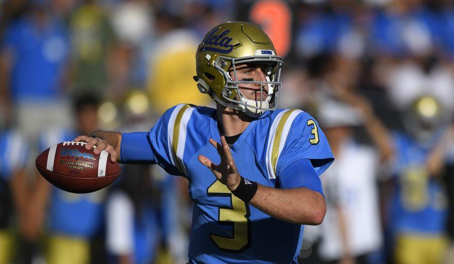 UCLA quarterback Josh Rosen passes during the first half of a college football game against UNLV, Saturday, Sept. 10, 2016, in Pasadena, Calif. (AP Photo/Mark J. Terrill) **FILE**