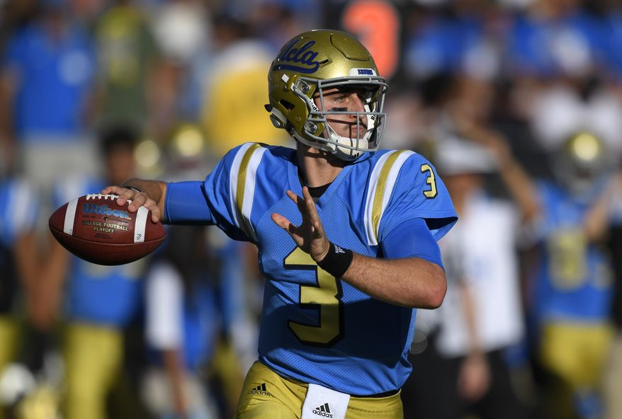 UCLA quarterback Josh Rosen passes during the first half of a college football game against UNLV, Saturday, Sept. 10, 2016, in Pasadena, Calif. (AP Photo/Mark J. Terrill) **FILE**