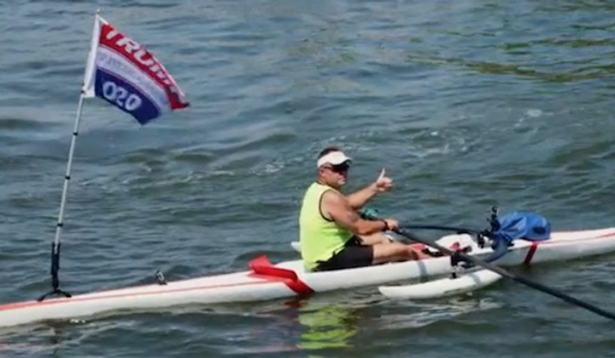 "Dion Cini, a former Marine and avid kayaker from New York City, has made a habit of trolling uber-liberal Manhattan by paddling the Hudson River with a prominent ""Trump 2020"" flag flapping in the wind. (CNN)"