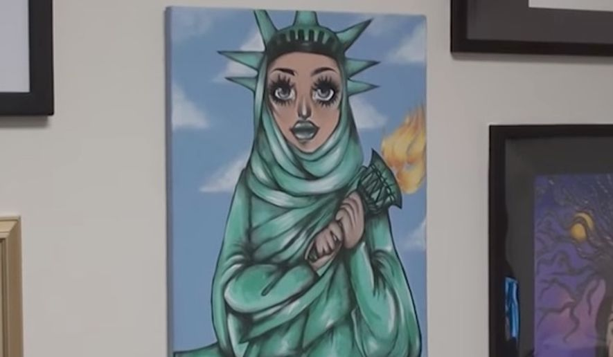 U.S. Rep. Lou Correa is defending a student painting hanging in his office that depicts the Statue of Liberty wearing a hijab, despite allegations that it violates the separation of church and state. (YouTube/@We The People Rising)