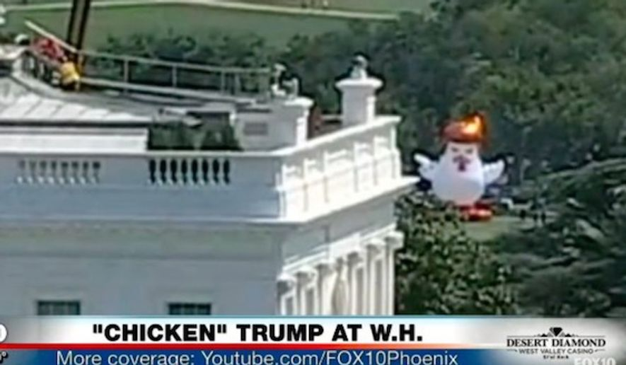 """Documentary filmmaker Taran Singh Brar inflated a giant """"Trump"""" chicken near the White House for a protest held Aug. 9, 2017. (Image: Fox 10 Phoenix screenshot)"""