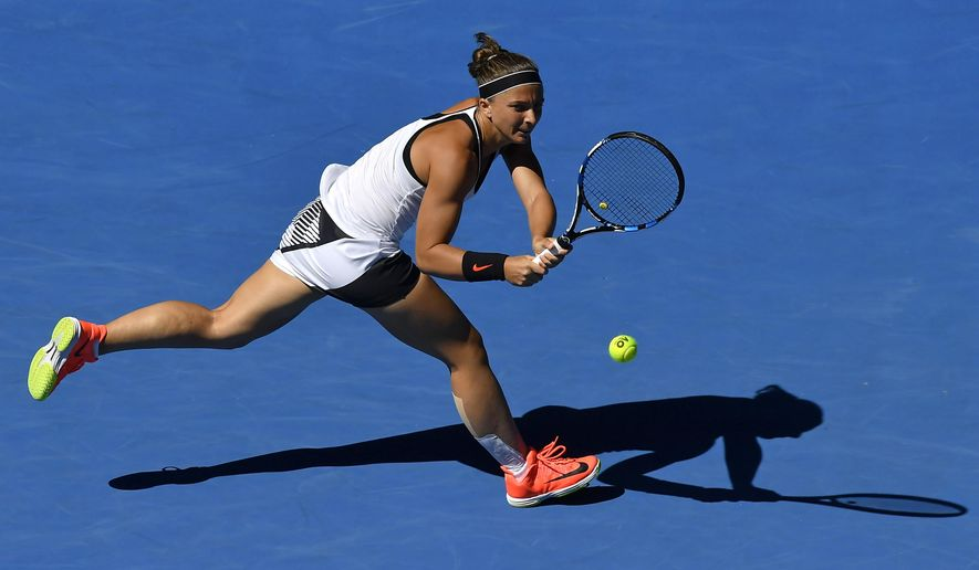 "FILE - In this file photo dated Thursday, Jan. 19, 2017, Italy's Sara Errani makes a return to Russia's Ekaterina Makarova during their second round match at the Australian Open tennis championships in Melbourne, Australia. International Tennis Federation said Monday Aug. 7, 2017, Errani must serve a two-month doping ban after testing positive for the banned substance letrozole in a test taken in February 2017, while Errani's defense blamed contamination from her mother's breast cancer medication, ""I never took, in my life and during my career, any prohibited substance,"" Errani said in a statement. (AP Photo/Andy Brownbill, FILE)"
