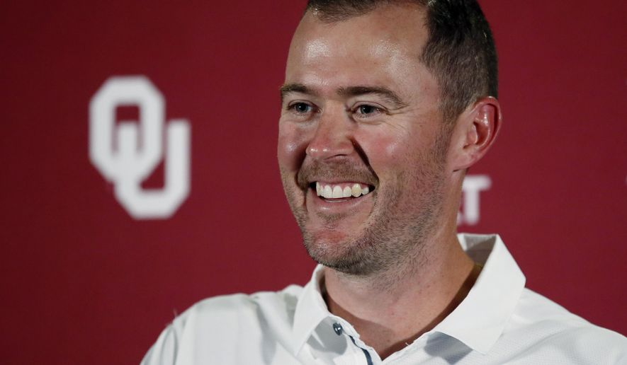 FILE - In this Aug. 5, 2017 file photo, Oklahoma head coach Lincoln Riley smiles as he answers a question during an NCAA college football media day in Norman, Okla. As usual, Oklahoma is a heavy favorite in the Big 12, even with the unexpected coaching change to Riley as first-time head coach. (AP Photo/Sue Ogrocki, File)
