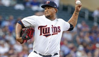 Minnesota Twins starting pitcher Adalberto Mejia throws to the Milwaukee Brewers in the first inning of a baseball game, Tuesday, Aug. 8, 2017, in Minneapolis. (AP Photo/Bruce Kluckhohn)