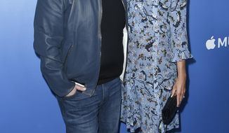 James Corden, from left, and Julia Carey attend Carpool Karaoke: The Series launch event at the Chateau Marmont Hotel on Monday, Aug. 7, 2017, in Los Angeles. (Photo by Richard Shotwell/Invision/AP)