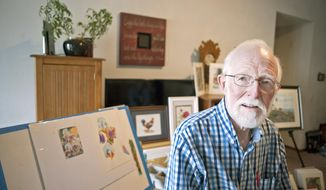 MANDATORY CREDIT ADVANCE FOR SATURDAY, AUG. 14 Al Bortles of Milton, Wis. is shown on Aug. 3, 2017, in his living room surrounded by his paintings. The 83-year-old recently began painting again. (Angela Major/The Janesville Gazette via AP)
