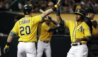 Oakland Athletics' Khris Davis, right, is high-fived by teammate Mark Canha (20) after Davis scored on a sacrifice fly from Ryon Healy during the third inning of a baseball game against the Seattle Mariners, Tuesday, Aug. 8, 2017, in Oakland, Calif. (AP Photo/Marcio Jose Sanchez)