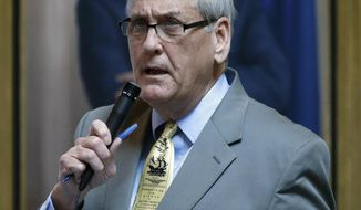 FILE - This March 8, 2016 file photo shows State Sen. Dave W. Marsden, D-Fairfax, during the floor session of the Virginia Senate at the State Capitol in Richmond, Va. In early April, lawmakers rejected McAuliffe's proposed amendment to a towing bill leaving him the option of vetoing the bill or signing it into law.  (Bob Brown/Richmond Times-Dispatch via AP) MANDATORY CREDIT