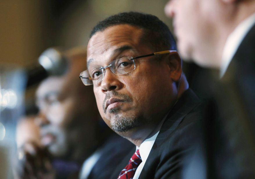 In this Dec. 2, 2016, file photo, U.S. Rep. Keith Ellison, D-Minn., listens during a forum on the future of the Democratic Party in Denver. (AP Photo/David Zalubowski, File)