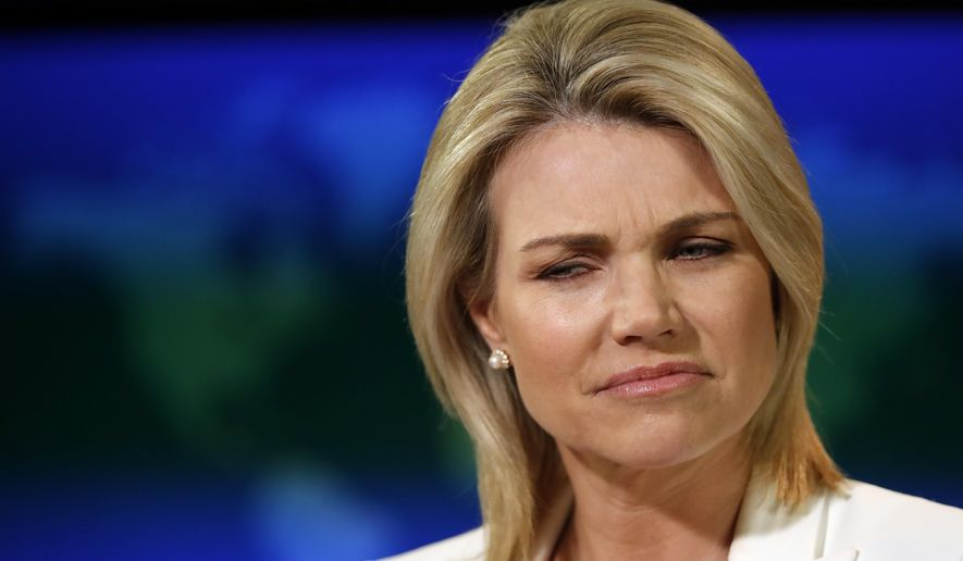 State Department spokeswoman Heather Nauert listens to a question during a briefing at the State Department in Washington, Wednesday, Aug. 9, 2017. (AP Photo/Alex Brandon) ** FILE **