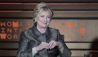 In this April 6, 2017, file photo, former U.S. Secretary of State Hillary Clinton speaks during the Women in the World Summit at Lincoln Center in New York. (AP Photo/Mary Altaffer, File)