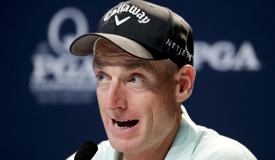 Jim Furyk talks during a news conference at the PGA Championship golf tournament at the Quail Hollow Club Wednesday, Aug. 9, 2017, in Charlotte, N.C. (AP Photo/Chris Carlson)