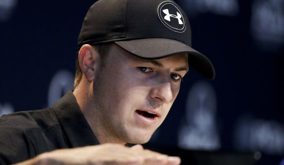 Jordan Spieth talks during a news conference at the PGA Championship golf tournament at the Quail Hollow Club on Wednesday, Aug. 9, 2017, in Charlotte, N.C. (AP Photo/Chris Carlson)