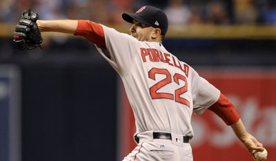 Boston Red Sox starter Rick Porcello pitches against the Tampa Bay Rays during the first inning of a baseball game Wednesday, Aug. 9, 2017, in St. Petersburg, Fla. (AP Photo/Steve Nesius)