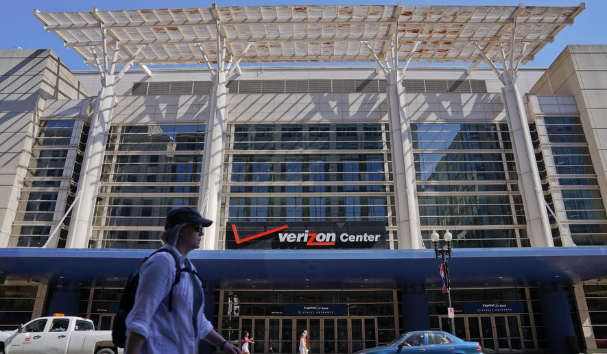 The Verizon Center in Washington, Wednesday, Aug. 9, 2017. The downtown home of the NBA's Wizards and NHL's Capitals is now called Capital One Arena. Owner Ted Leonsis announced the change from Verizon Center along with an investment of $40 million in the arena. Leonsis' Monumental Sports & Entertainment is not disclosing the financial terms or length of the new naming-rights agreement. It goes into effect immediately, with new signage expected by the fall. (AP Photo/Pablo Martinez Monsivais)