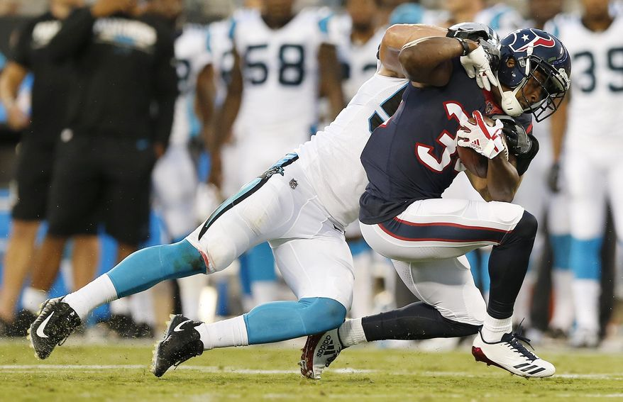 Carolina Panthers linebacker David Mayo (55) makes the tackle on Houston Texans running back Tyler Ervin (34) during the first half of an NFL preseason football game, Wednesday, Aug. 9, 2017, in Charlotte, N.C. (AP Photo/Jason E. Miczek)
