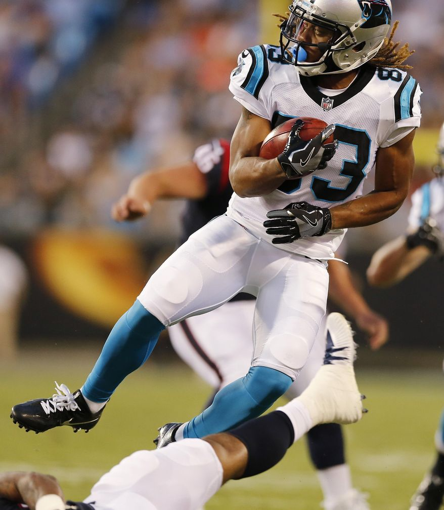 Carolina Panthers wide receiver Kaelin Clay (83) spins against the Houston Texans after making a catch during the first half of an NFL preseason football game, Wednesday, Aug. 9, 2017, in Charlotte, N.C. (AP Photo/Jason E. Miczek)