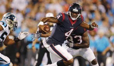 Houston Texans quarterback Deshaun Watson (4) runs against the Carolina Panthers during the first half of an NFL preseason football game, Wednesday, Aug. 9, 2017, in Charlotte, N.C. (AP Photo/Jason E. Miczek)