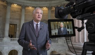 "In this July 11, 2017, photo, Sen. Luther Strange, R-Ala. responds to questions during a TV news interview on Capitol Hill in Washington. President Donald Trump is endorsing Strange in a special GOP primary election next week. Trump wrote on Twitter that Strange ""has done a great job representing the people of the Great State of Alabama. He has my complete and total endorsement!"" Strange has called Trump's election to the presidency a ""biblical miracle."" (AP Photo/J. Scott Applewhite)"