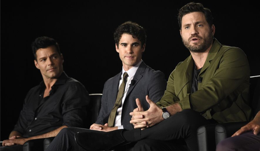 "Edgar Ramirez, right, a cast member in ""The Assassination of Gianni Versace: American Crime Story,"" takes part in a panel discussion with fellow cast members Ricky Martin, left, and Darren Criss look on during the 2017 Television Critics Association Summer Press Tour at 20th Century Fox Studios on Wednesday, Aug. 9, 2017, in Los Angeles. (Photo by Chris Pizzello/Invision/AP)"