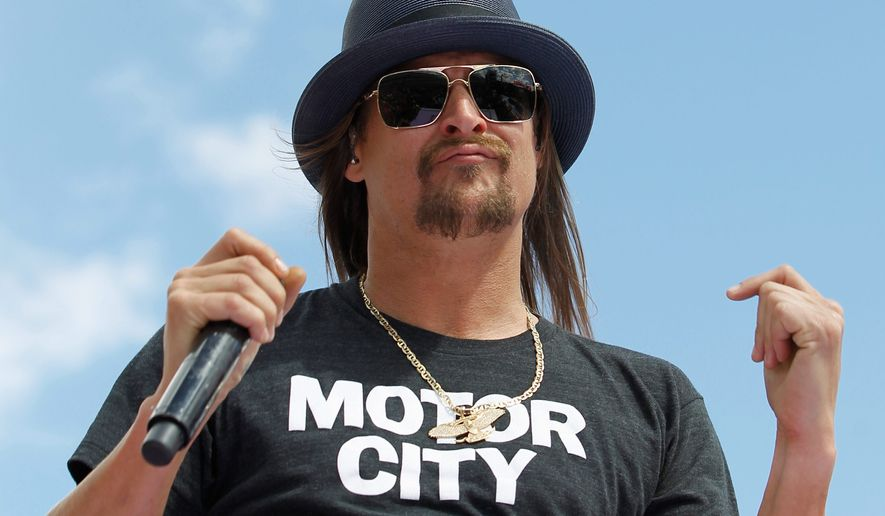 Robert Ritchie, known as Kid Rock, says he is seriously considering a Republican run for the U.S. Senate seat held by Democrat Debbie Stabenow. (Associated Press)