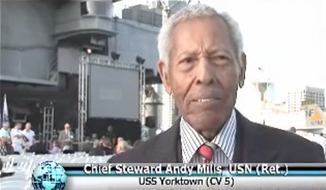 Andy Mills, a Navy steward in World War II who fought in the Battle of Midway, is shown here in a U.S. Navy video. Mr. Mills, now 102 years old, is being honored with a barracks at a naval base in Coronado, Calif., being named in his honor, the AP reported August 10. (U.S. Navy/YouTube) [https://www.youtube.com/watch?v=z155_fxvA9U]