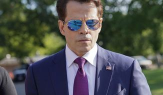 In this July 25, 2017, file photo, then-White House communications director Anthony Scaramucci walks back to the West Wing of the White House in Washington. Scaramucci claimed in a tweet on Aug. 9, 2017, the profanity-laced phone call that preceded his ouster from the White House was recorded by a reporter without his permission. (AP Photo/Pablo Martinez Monsivais, File)
