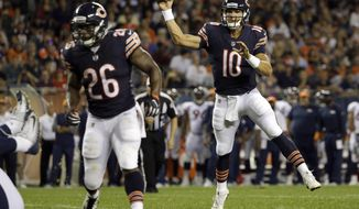 Chicago Bears quarterback Mitchell Trubisky (10) throws a touchdown pass to wide receiver Victor Cruz (80) during the first half of an NFL preseason football game against the Denver Broncos, Thursday, Aug. 10, 2017, in Chicago. (AP Photo/Nam Y. Huh)