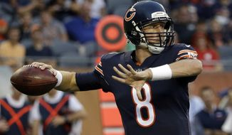 Chicago Bears quarterback Mike Glennon (8) throws a pass during the first half of an NFL preseason football game against the Denver Broncos, Thursday, Aug. 10, 2017, in Chicago. (AP Photo/Nam Y. Huh)