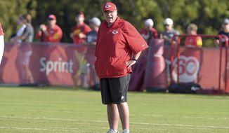 Kansas City Chiefs head coach Andy Reid watches during an NFL training camp, Tuesday, Aug. 8, 2017 in St. Joseph, Mo. (Jessica Stewart/The St. Joseph News-Press via AP)