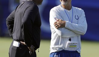 Detroit Lions head coach Jim Caldwell, left, talks with Indianapolis Colts head coach Chuck Pagano during practice at the NFL team's football training camp Thursday, Aug. 10, 2017, in Indianapolis. (AP Photo/Darron Cummings)