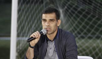Mexican soccer star Rafael Marquez Alvarez speaks during a press conference to deny accusations of ties to drug trafficking, at Atlas Football Club in Guadalajara, Mexico, Wednesday, Aug. 9, 2017. Marquez and a well-known band leader are among 22 people sanctioned for alleged ties to a drug trafficking organization, the U.S. Treasury Department announced Wednesday. (AP Photo/Refugio Ruiz)