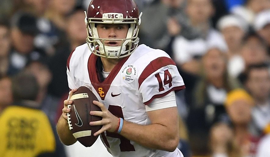 FILE - In this Monday, Jan. 2, 2017, file photo, Southern California quarterback Sam Darnold looks to pass during the first half of the Rose Bowl NCAA college football game against Penn State in Pasadena, Calif. Coming off their Rose Bowl victory, and the Trojans' usual stratospheric expectations aside, they're the only program in the division without serious rebuilding questions. (AP Photo/Mark J. Terrill, File)
