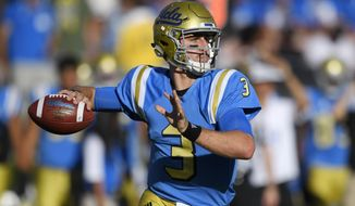 FILE - In this Sept. 10, 2016, file photo, UCLA quarterback Josh Rosen passes during the first half of a college football game against UNLV in Pasadena, Calif. The touted passer missed half of his sophomore season with injuries. With Jedd Fisch becoming his third offensive coordinator in three years, he could swiftly return his NFL draft stock to its former heights. (AP Photo/Mark J. Terrill, File)