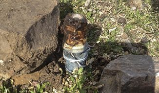 FILE - This March 16, 2017 photo released by the Bannock County Sheriff's Office shows a cyanide device in Pocatello, Idaho, Environmental groups have started a legal process to ban predator-killing cyanide traps used mostly in the U.S. West after one of the traps sickened a boy in Idaho and killed his dog. The Center for Biological Diversity and other conservation groups petitioned the Environmental Protection Agency on Thursday, Aug.10, 2017 to outlaw the spring-activated devices called M-44s. (Bannock County Sheriff's Office via AP,File)