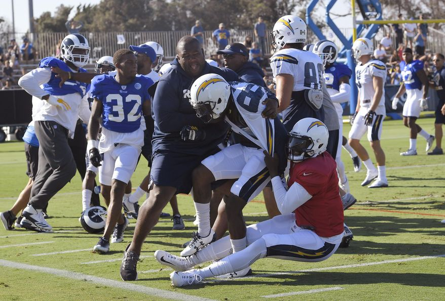 One of several scuffles breaks out during a joint NFL football practice between the Los Angeles Rams and the Los Angeles Chargers, Wednesday, Aug. 9, 2017, in Irvine, Calif. (AP Photo/Mark J. Terrill)