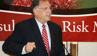 U.S. Sen. John Boozman speaks at the annual meeting of the Association of Arkansas Counties Thursday, Aug. 10, 2017, in Little Rock, Ark. Boozman told the crowd he would have surgery next week as a follow-up to an emergency heart procedure he had done in 2014. He said that 30 percent of people who have surgery for a torn aorta, as he did three years ago, must have a follow-up procedure. (AP Photo/Kelly P. Kissel)
