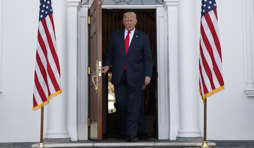 President Donald Trump arrives to speak to reporters before a security briefing at Trump National Golf Club in Bedminster, N.J., Thursday, August 10, 2017,  (AP Photo/Evan Vucci) (AP Photo/Evan Vucci)