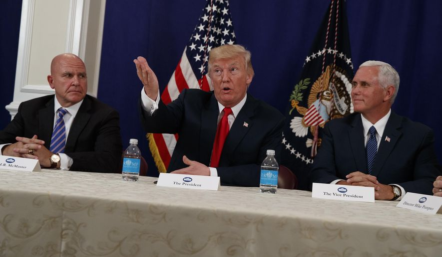National Security Adviser H.R. McMaster, left, and Vice President Mike Pence listen as President Donald Trump speaks to reporters after a security briefing at Trump National Golf Club in Bedminster, N.J., Thursday, Aug. 10, 2017.  (AP Photo/Evan Vucci)
