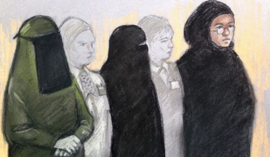 Terror suspects Mina Dich, 43, left, Rizlaine Boular, 21, center, and Khawla Barghouthi, 20, right, stand in a Westminster Magistrates Court in London, May 11, 2017. The trio received plea and trial preparation hearings on Friday, Aug. 11, 2017. (Elizabeth Cook/PA via Associated Press) ** FILE **