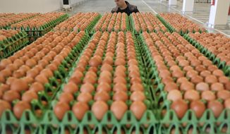 A man transports eggs at a processing plant in Gaesti, southern Romania, Friday, Aug. 11, 2017. The European Union said Friday that it plans to hold an extraordinary meeting late next month over a growing tainted egg scandal as it revealed that products contaminated with an insecticide have now spread to 17 countries. (AP Photo/Vadim Ghirda)